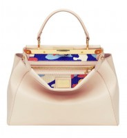 pudra rengi deri fendi kol çantası