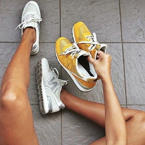 sarı beyaz new blance spor ayakkabı kadın