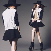 siyah şapka siyah beyaz mont topuklu ayakkabı çizme moda tarz stil kadın