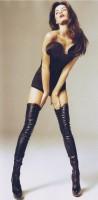 siyah büstiyer kadın iç giyim uzun diz üstü çizme bot