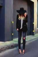 siyah blazer ceket dar yırtık kot boyfriend jeans