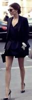 siyah blazer ceket mini şort topuklu kadın ayakkabı gözlük