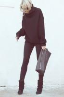 siyah boğazlı kazak dar pantalon el çantası
