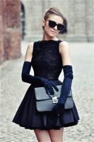 siyah dantel bluz mini etek retro style tarz