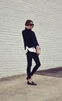 siyah dar paça pantalon kadın kazak triko