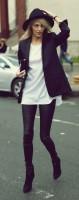 siyah dar pantalon topuklu süet bot kadın