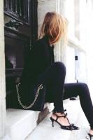 siyah dar pantolon kot jeans yüksek bel