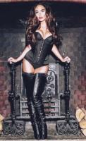 siyah deri büstiyer kadın iç giyim uzun deri diz üstü çizme bot