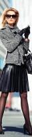 siyah deri etek gri ceket kombini