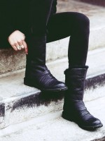 siyah deri içi yünlü kısa bot çizme