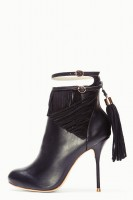 siyah deri kısa bot modeli topuklu
