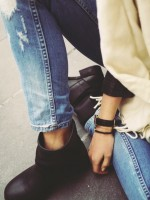 siyah deri kısa topuk kısa bot çizme