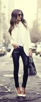 siyah deri pantolon beyaz ceket