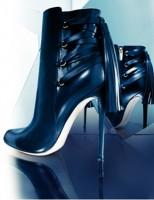 siyah deri topuklu kısa bot modelleri