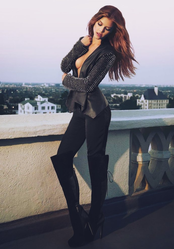 Siyah deri zımbalı ceket siyah kadın pantalon diz üstü çizme