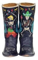 siyah desenli deri kovboy çizme biker bot