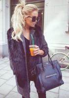 siyah kürk yelek kadın siyah kazak triko siyah celine çanta