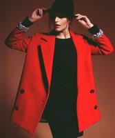 siyah kadın elbise kış kırmızı mont uzun kaşe ceket