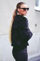 siyah kadın kürk ceket mont siyah deri ceket gözlük