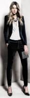 siyah kadife pantolon ceket stiletto mango