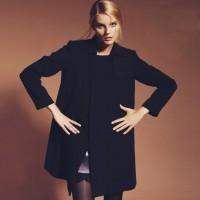 siyah kazak tarz moda uzun kaşe mont deri kadın pantalon