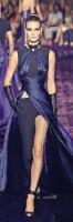 siyah lacivert uzun yırtmaçlı gece abiye elbisesi versace
