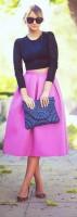 siyah mini kısa kazak top crop pembe neon kadın etek moda stil
