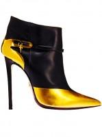 siyah sarı topuklu kısa bot modeli