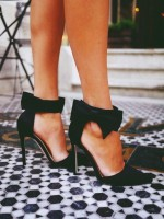 siyah sivri burun fiyonklu gece ayakkabısı kadın