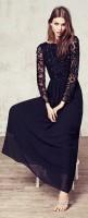 siyah taş işlemeli uzun elbise mango