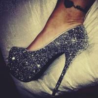 siyah taşlı platform gece kadın ayakkabısı