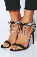 siyah taşlı topuklu ayakkabı