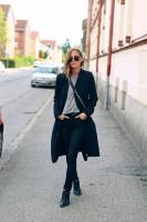 siyah uzun ceket kadın dar paça pantalon