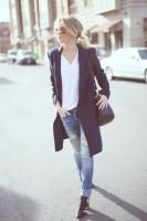 siyah uzun ceket yırtık kot boyfriend kadın jeans