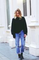 siyah uzun kazak kadın triko jean kot