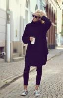 siyah uzun kazak yırtık kot boyfriend jeans