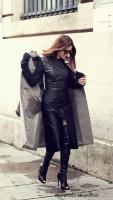 siyah uzun manto palto ceket kaban kadın deri elbise uzun diz üstü çizme bot