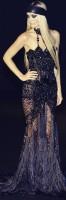 siyah uzun taş işlemeli abiye elbise gece elbisesi versace