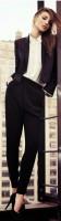 siyah yüksek bel kumaş pantolon blazer ceket beyaz gömlek kombin