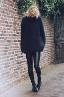 siyah yün kadın triko kazak deri tayt pantalon