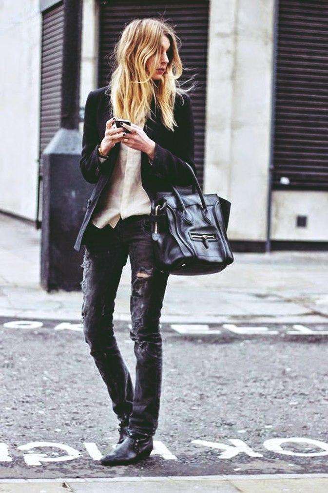 Siyah Yırtık Kot Pantolon Jeans Kokosbayancomda