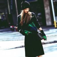 siyah yeşil pantalon siyah bere siyah uzun etek kadın kazak triko