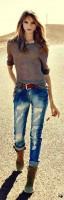 taşlanmış kot jeans kahverengi kazak mango