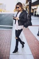 tarz moda siyah dar yırtık kot jean kadın boyfriend