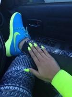 turkuaz neon yeşil nike kadın spor ayakkabı