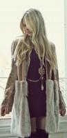 uzun kahve krem kürk ceket kadın elbise