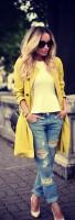 uzun sarı kaban ceket boyfriend kot jean kadın