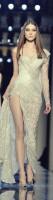 versace krem rengi uzun yırtmaçlı gece elbisesi