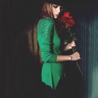 yeşil yün kazak kadın triko