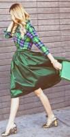 yeşil etek ekose gömlek kadın topuklu ayakkabı